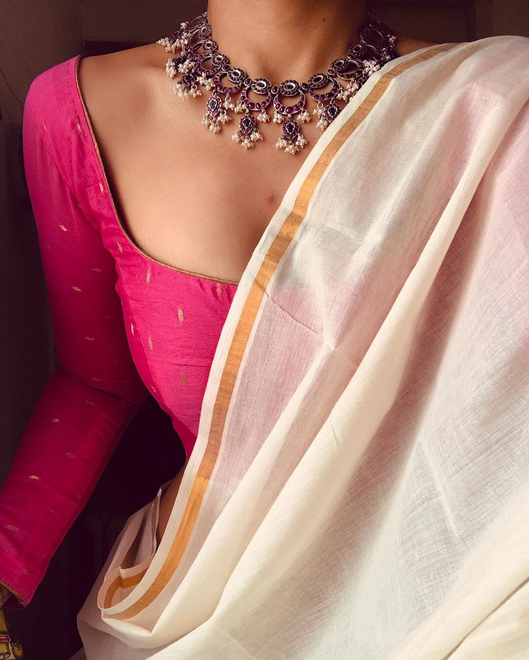 White saree Pink blouse