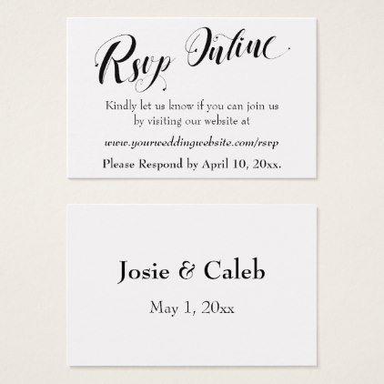 Wedding Rsvp Website.Wedding Rsvp Online Insert Black Script White 02 Zazzle