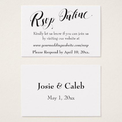 Wedding RSVP Online Insert Black Script, White, 02
