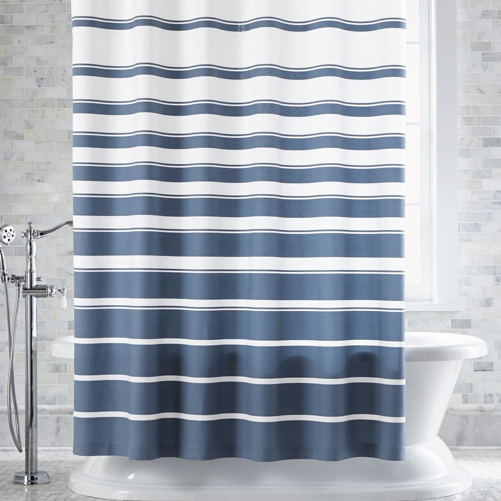 Hampton Blue White Striped Shower Curtain