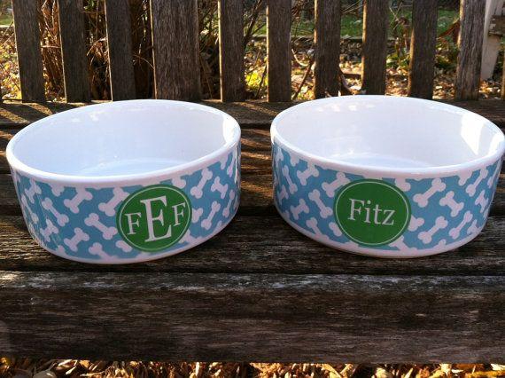 Set Of Personalized Dog Bowls Monogrammed Dog Bowl By Pink Wasabi Ink 56 00 Dog Bowls Personalized Pet Bowls Personalized Dog Bowls