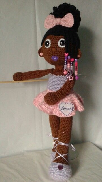 Amigurumi Curly Doll : Crochet doll african american ballerina with curly afro