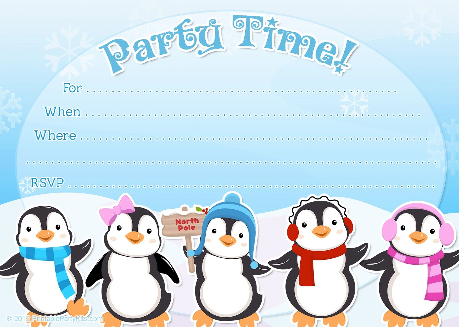 free printable penguin winter or holiday invitation template from printablepartyinvitationsblogspotcom