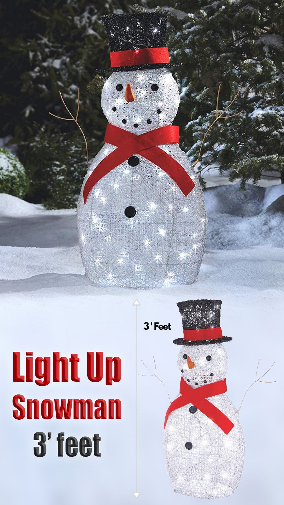 Our 3 Foot Light Up Snowman With A Top Hat Is The Perfect Christmas Decoration To Greet Family And Friends Over This Holiday Season Go Green With 70 High Effic