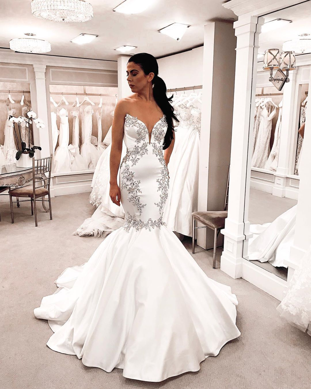 Cheers To Sparklesaturday Try On Style 4813 From The Realcollection Kleinfel Pnina Tornai Wedding Dress Bling Wedding Dress Wedding Dresses Mermaid Bling