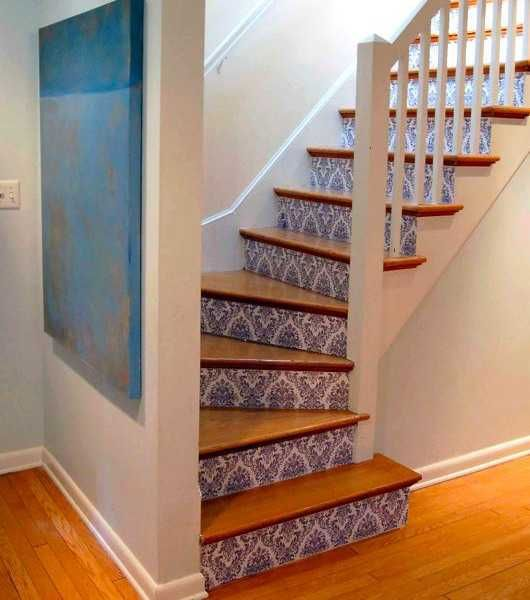 Adding Beautiful Wallpapers To Stairs Risers For Original Staircase Designs