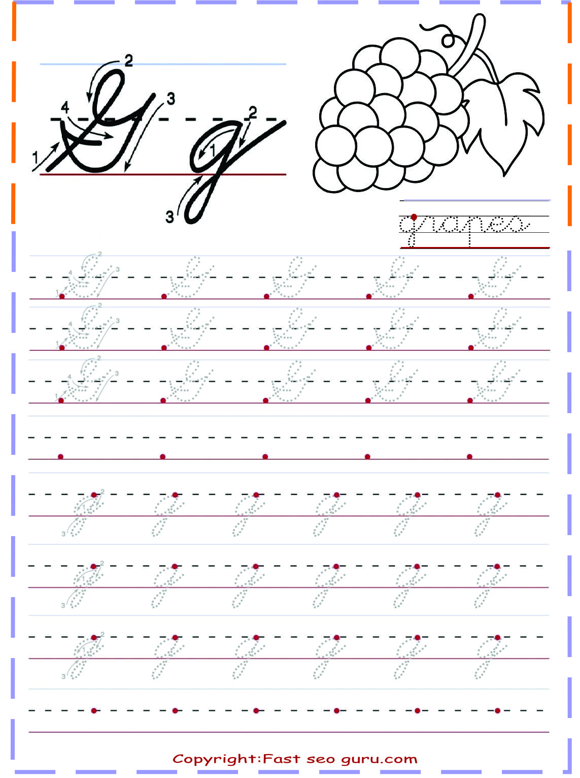 Cursive Handwriting Practice Worksheets Letter G For