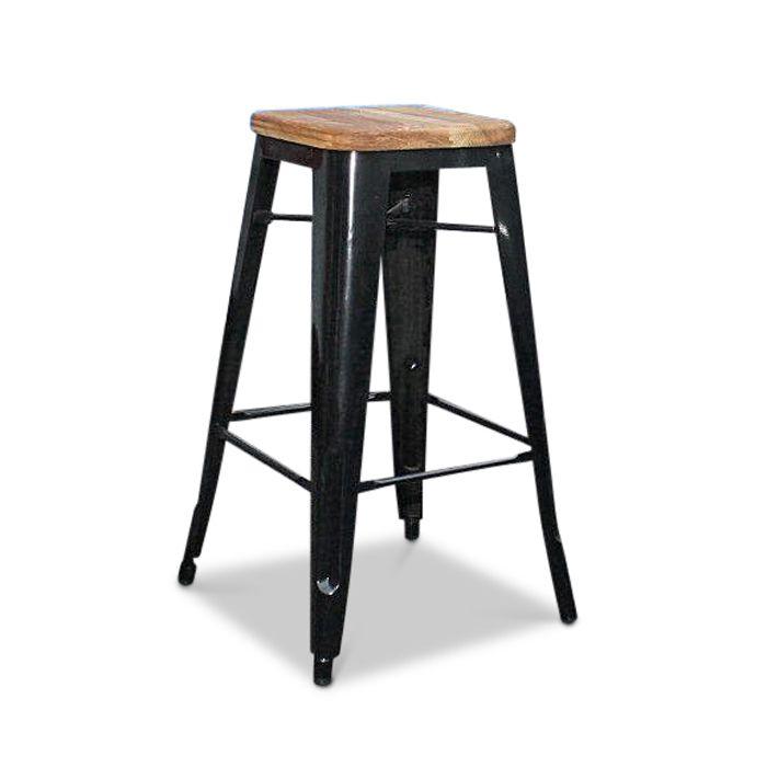 Tolix Bar Stool 76cm Xavier Pauchard Replica - Assorted Powder Coated Colours With Timber Seat      Tolix Bar Stool 76cm High Xavier Pauchard Replica Powder Coated Steel Timber Seat Stackable
