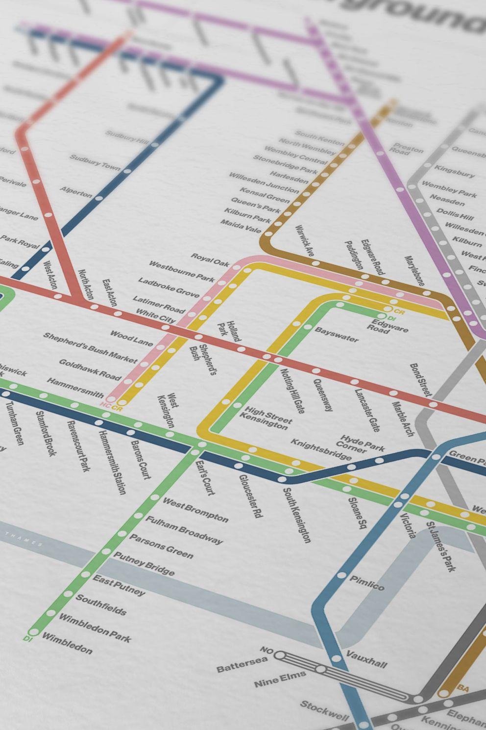 London Underground Map / Font Options / Tube Map / Minimal   Etsy ...