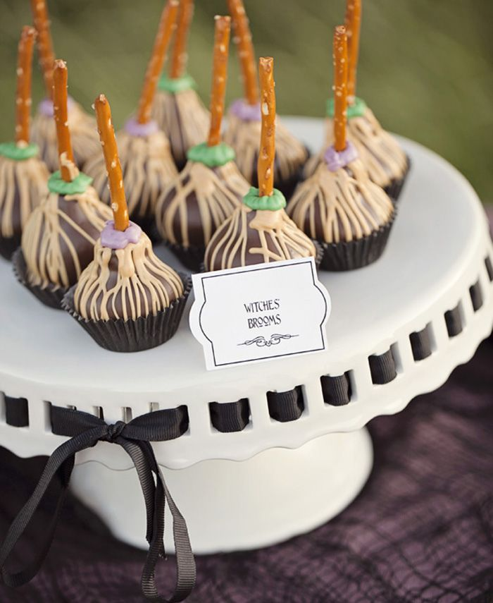 #Halloween witches broom upside down cake pops via Amy Atlas Party Inspiration Witches Ball