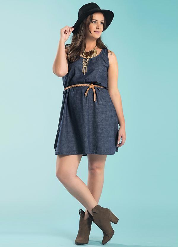 de837bdfa Vestido Jeans com Cinto Azul Wee - Posthaus