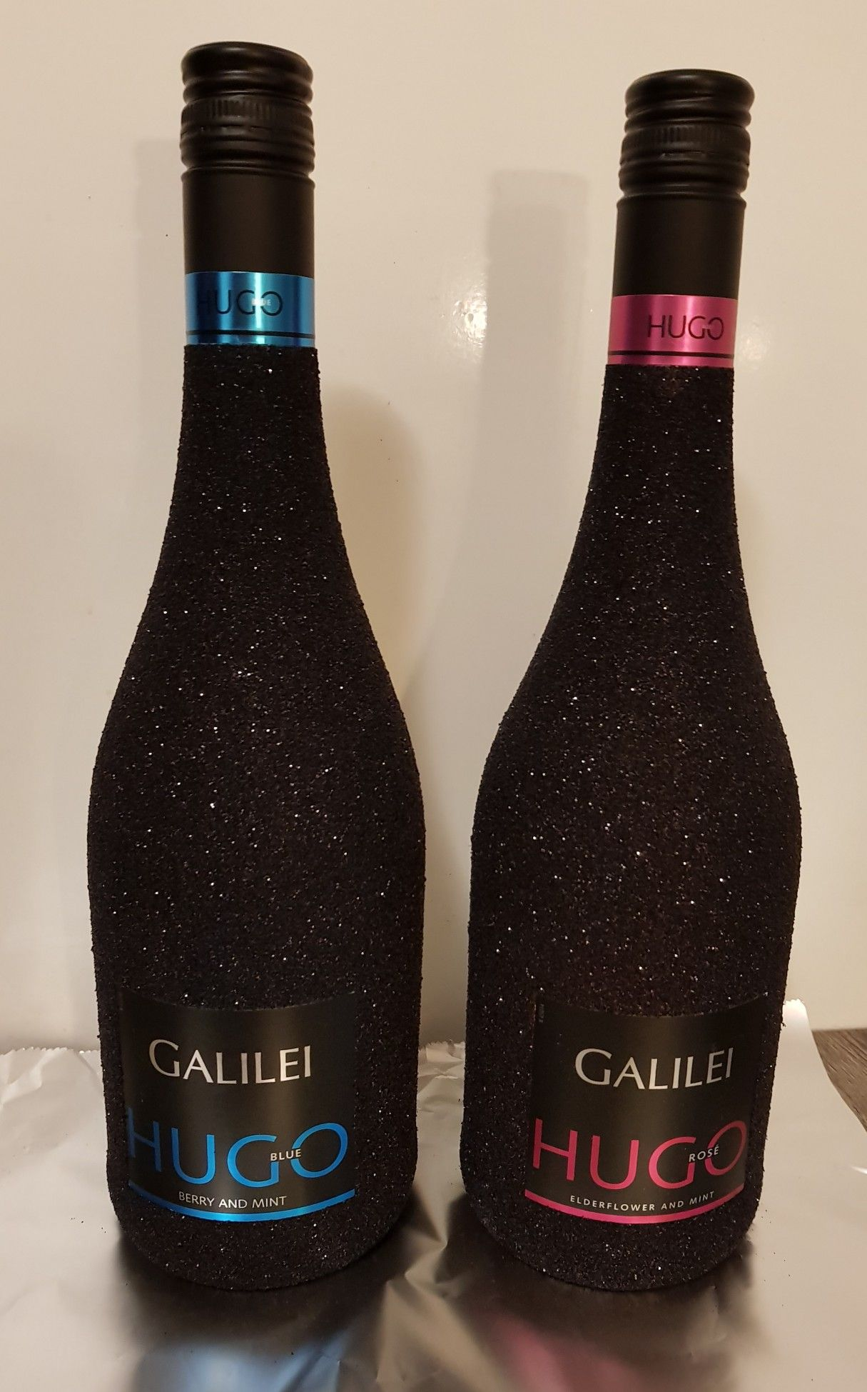 Hugo glitter wine bottle black wijn fles