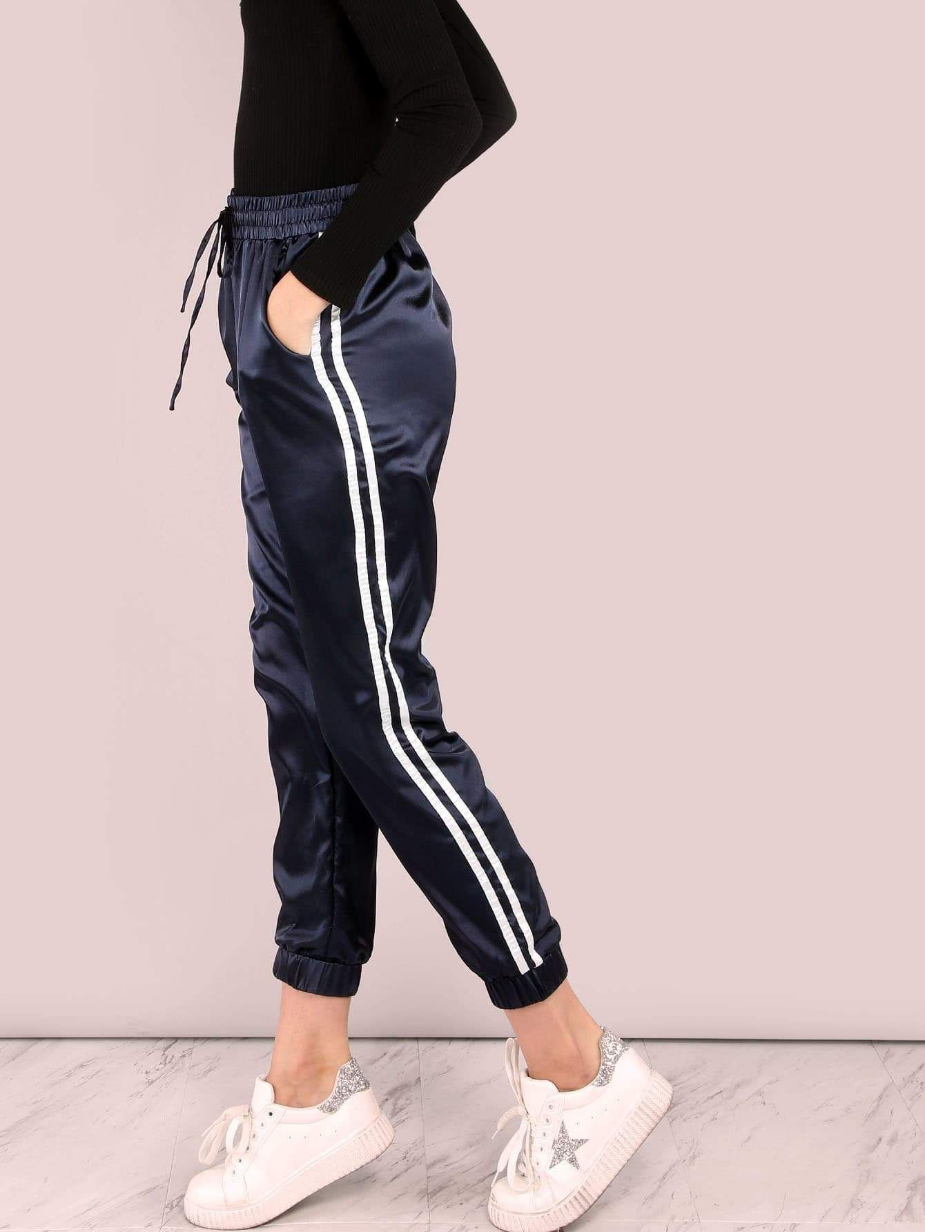 eedf782df Side Striped Satin Trainer Joggers Navy Pants
