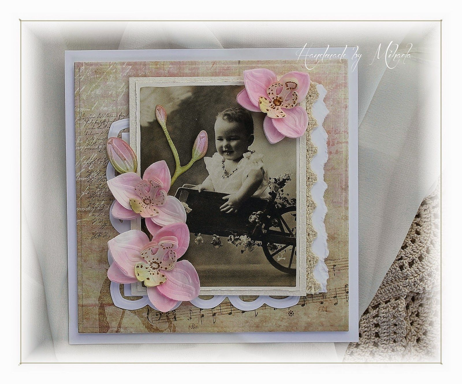 handmademihaela pink orchids  orchid card baby