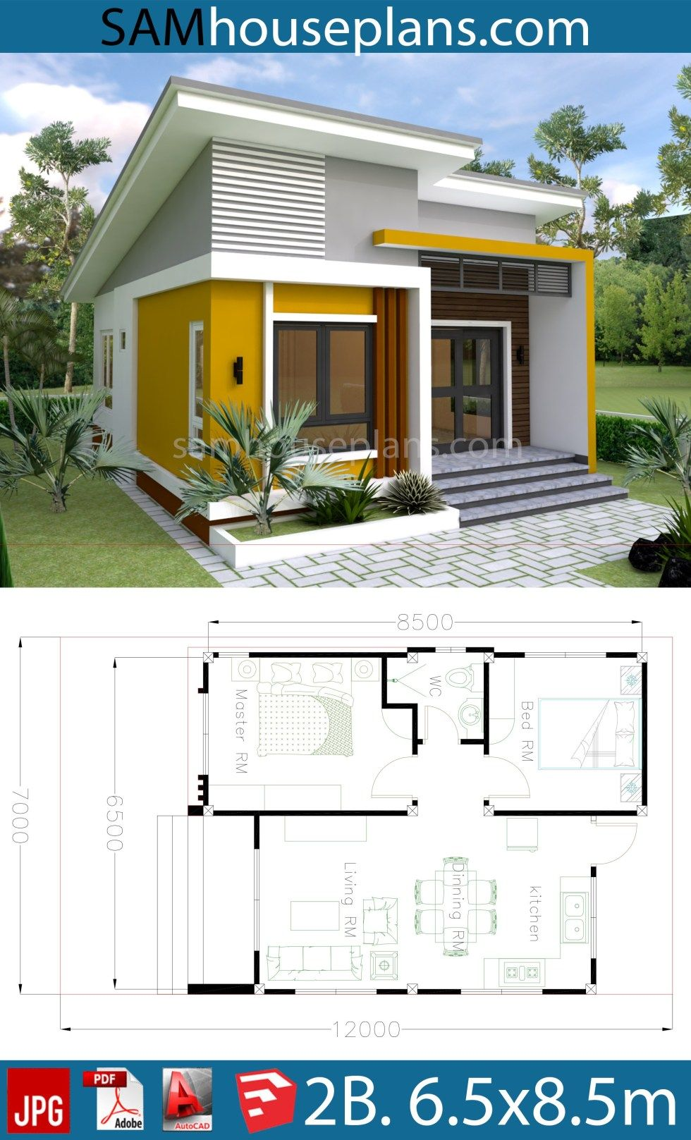 House Plans 6 5x8 5m With 2 Bedrooms Sam House Plans Small House Design Plans Simple House Design Small House Design