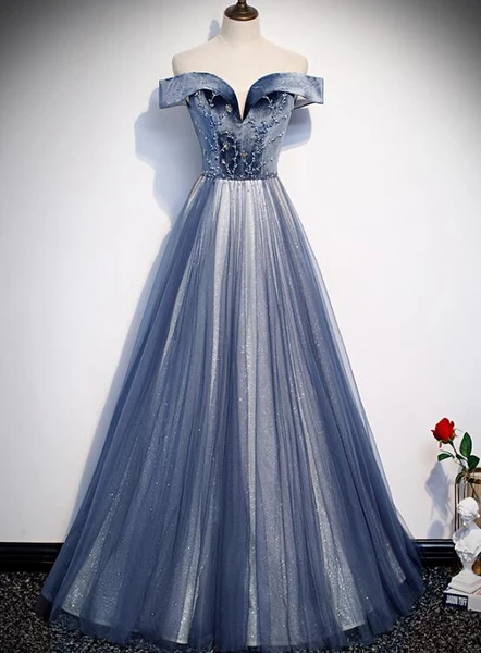 Beautiful Blue Long Party Gown, Blue Prom Dress 2020