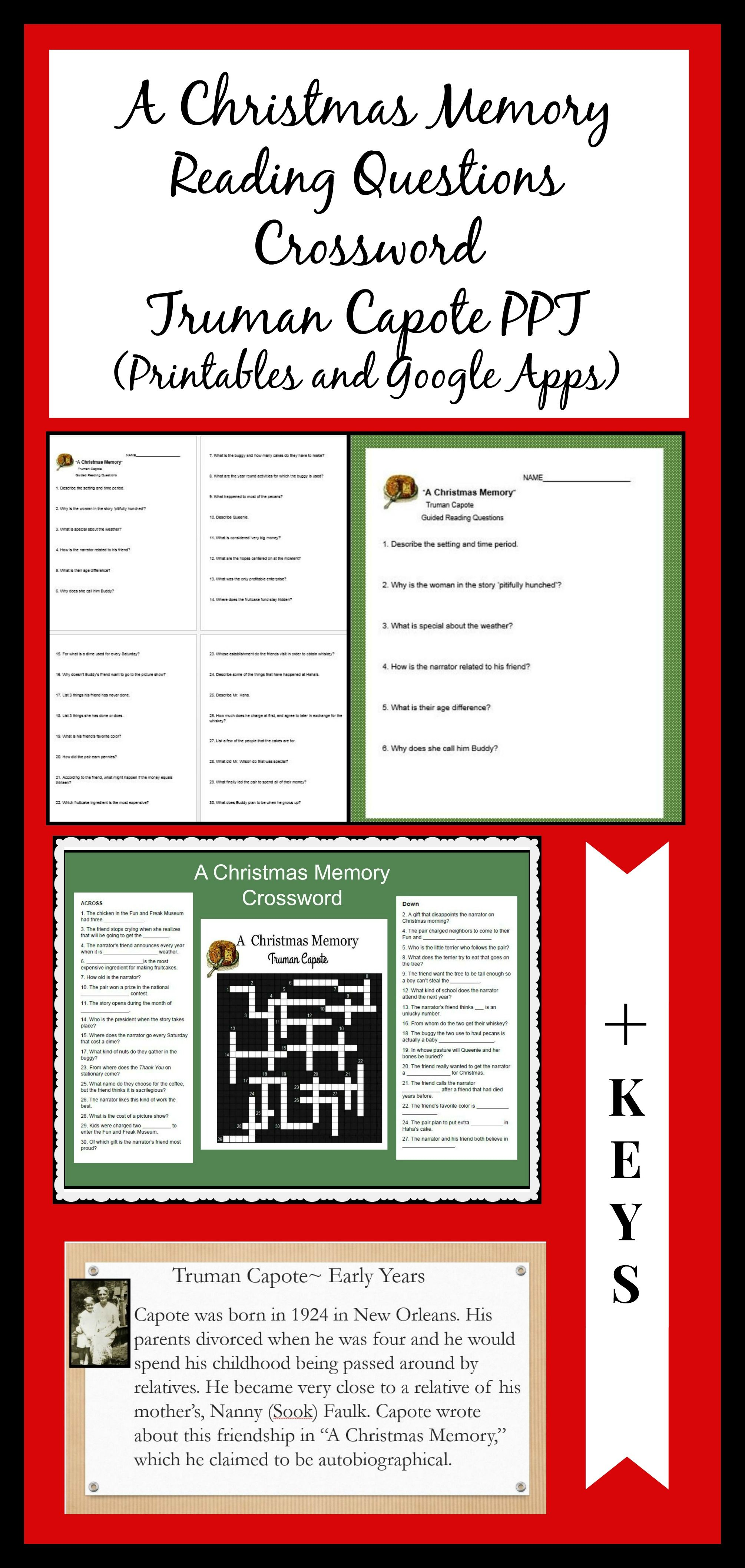 A Christmas Memory mini-Bundle of reading questions, crossword and ...