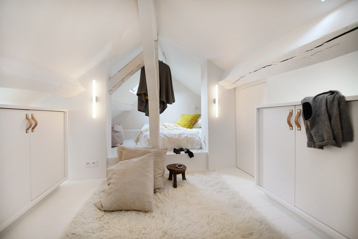 Bedroom interior roof roof conversion and complete refurbishment of a whole floor in an