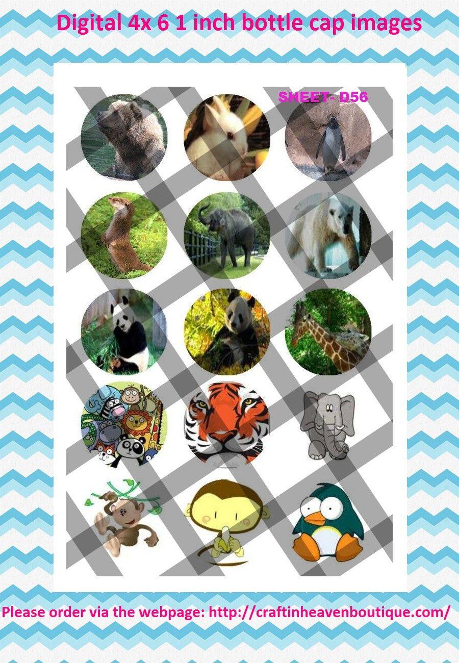 1' Bottle caps (4x6) D56 zoo animals Animal bottle cap