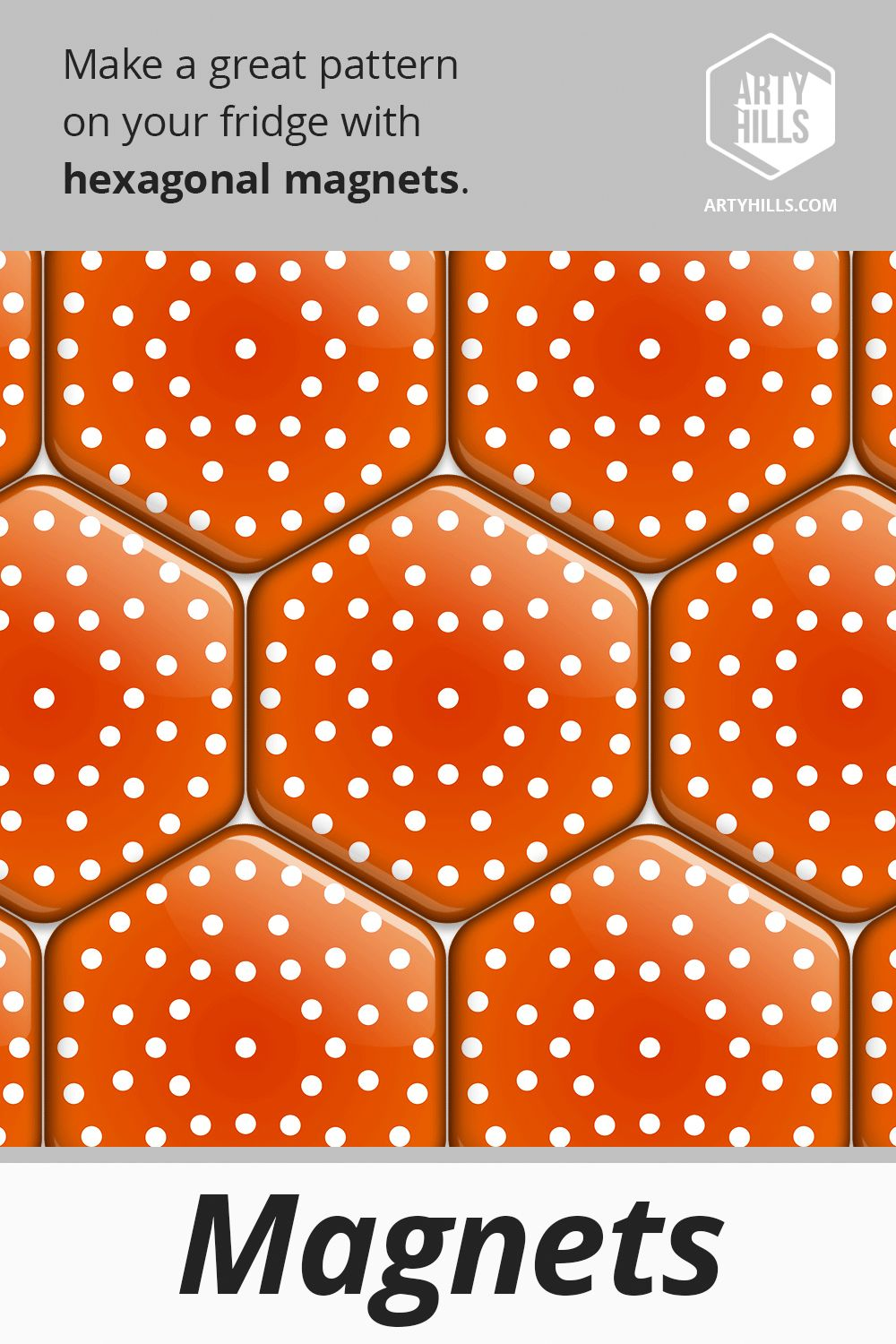 Hexagonal Magnet From Artyhills Autumn Collection Decorate your fridge or any other metallic surface with a playful hexagonal magnet which is perfectly strong to hold a n...
