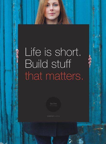 Siqi Chen: Life is short. Build stuff that matters.