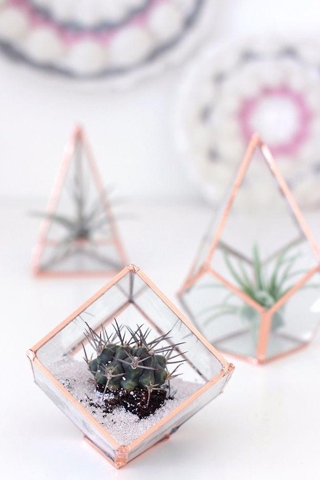Meilleures idées de décoration de chambre bricolage pour les adolescents et les adolescents – Terrariums en verre bricolage -… -