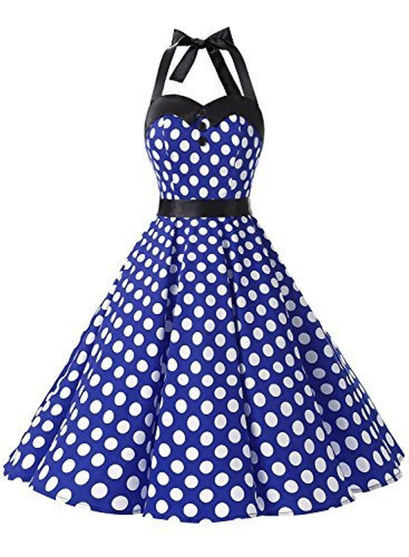 Vintage Polka Dot Retro Cocktail Prom Dresses 50\'s 60\'s with ...