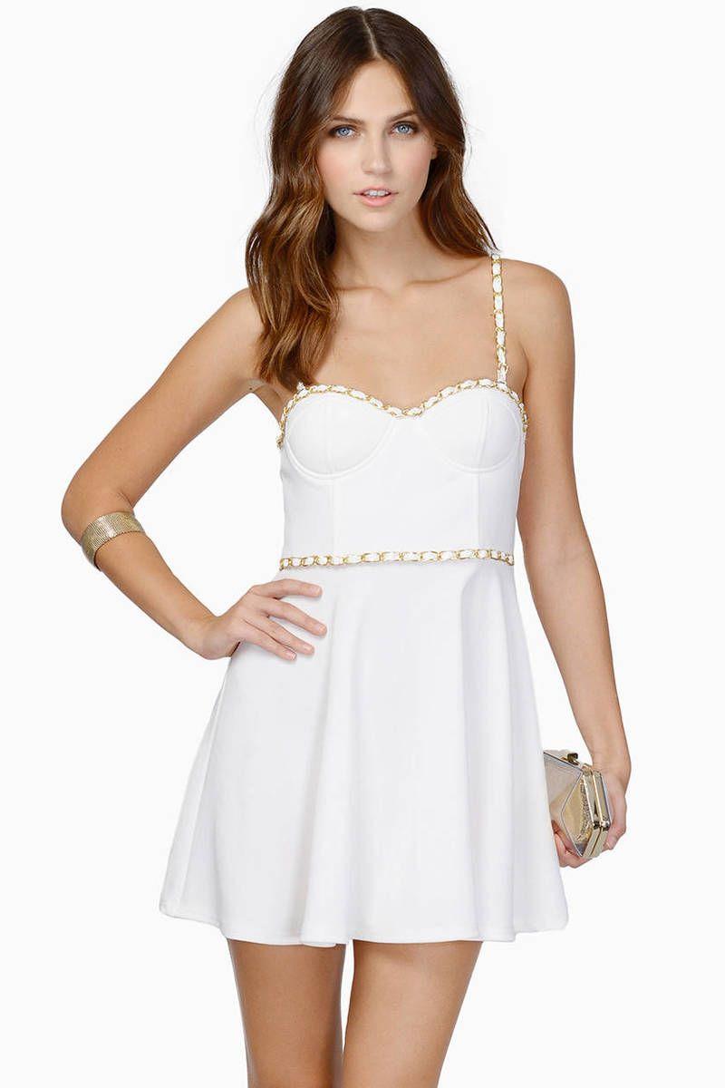 Kleid Weiß Elegante Partykleid Kurz