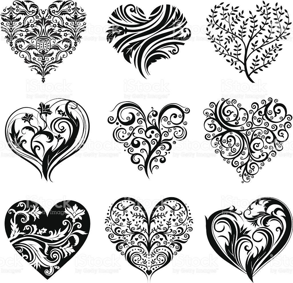 Set Of 9 Tattoo Hearts Vector Image Valentin Et Tine Tatouage