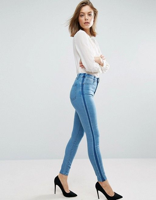 SCULPT ME Premium Jeans in Dee Mid Blue Wash with Shadow Side Panel - Mid wash blue Asos Q910X