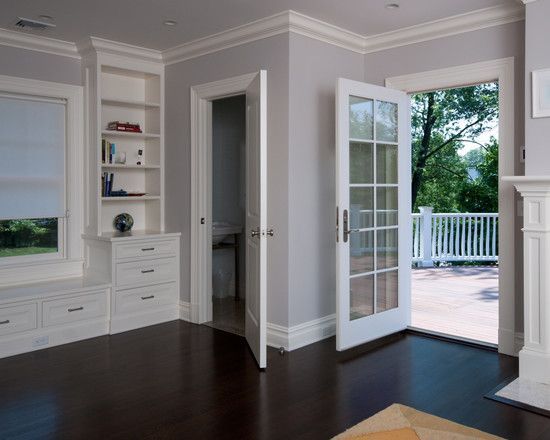 Dark floors, white trim, gray walls | House Stuff | Grey ...