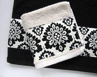 Black Damask Bath Towels Hand Cream