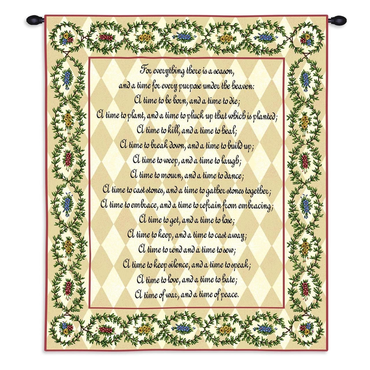 For Everything There Is A Season Poem Art Tapestry Wall Hanging ...