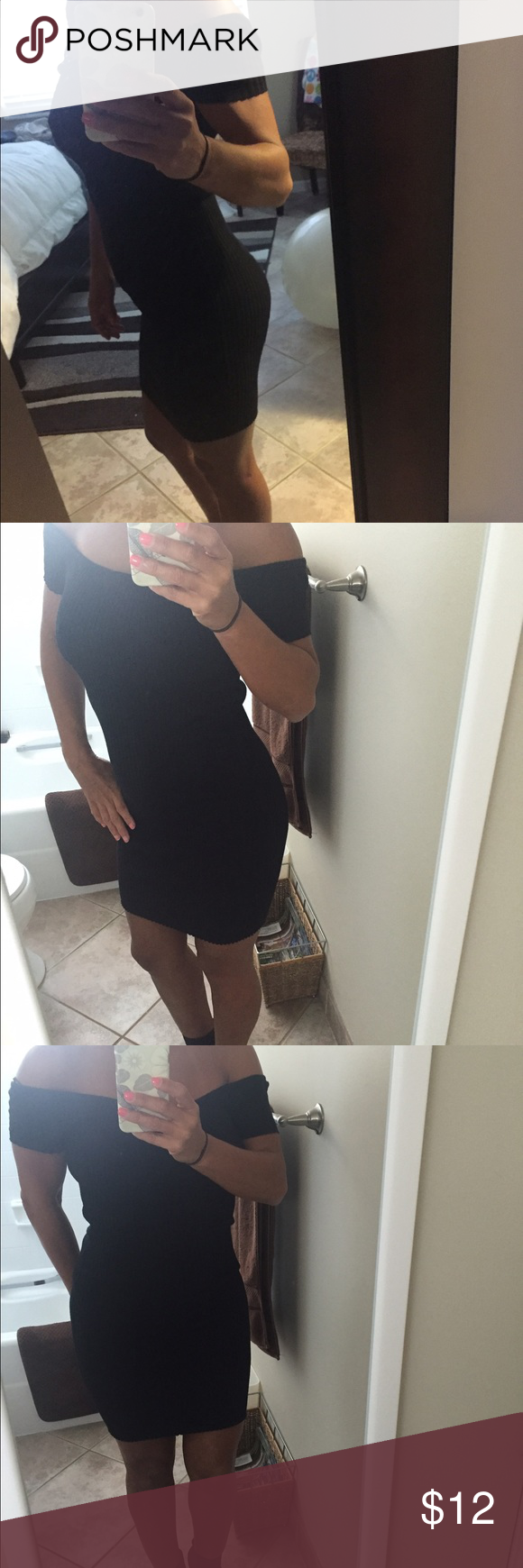 Dress Ribbed black mini dress. Can be worn off the shoulder as shown in the picture. Worn only once. Ambiance Apparel Dresses Mini