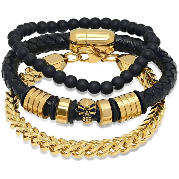 HMY Jewelry Gold Black Leather Skull Beaded Bracelet Set ❤ liked on Polyvore featuring jewelry, bracelets, beading charms, magnet jewelry, skull charms, bead charms and leather bangle