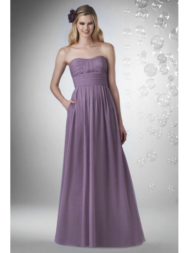 A-line Strapless Floor Length / Long Chiffon Bridesmaid / Wedding ...