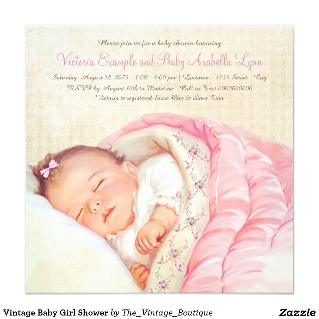 Vintage Baby Girl Shower Card | Baby girl shower