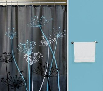 Thistle Gray Blue Fabric Shower Curtain Teal Shower Curtains