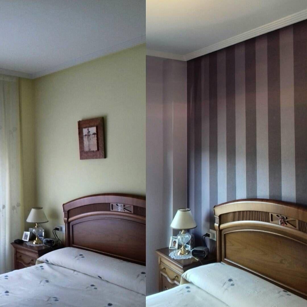 Antes y despu s el dormitorio de ngeles renovado en - Dormitorios con papel pintado ...