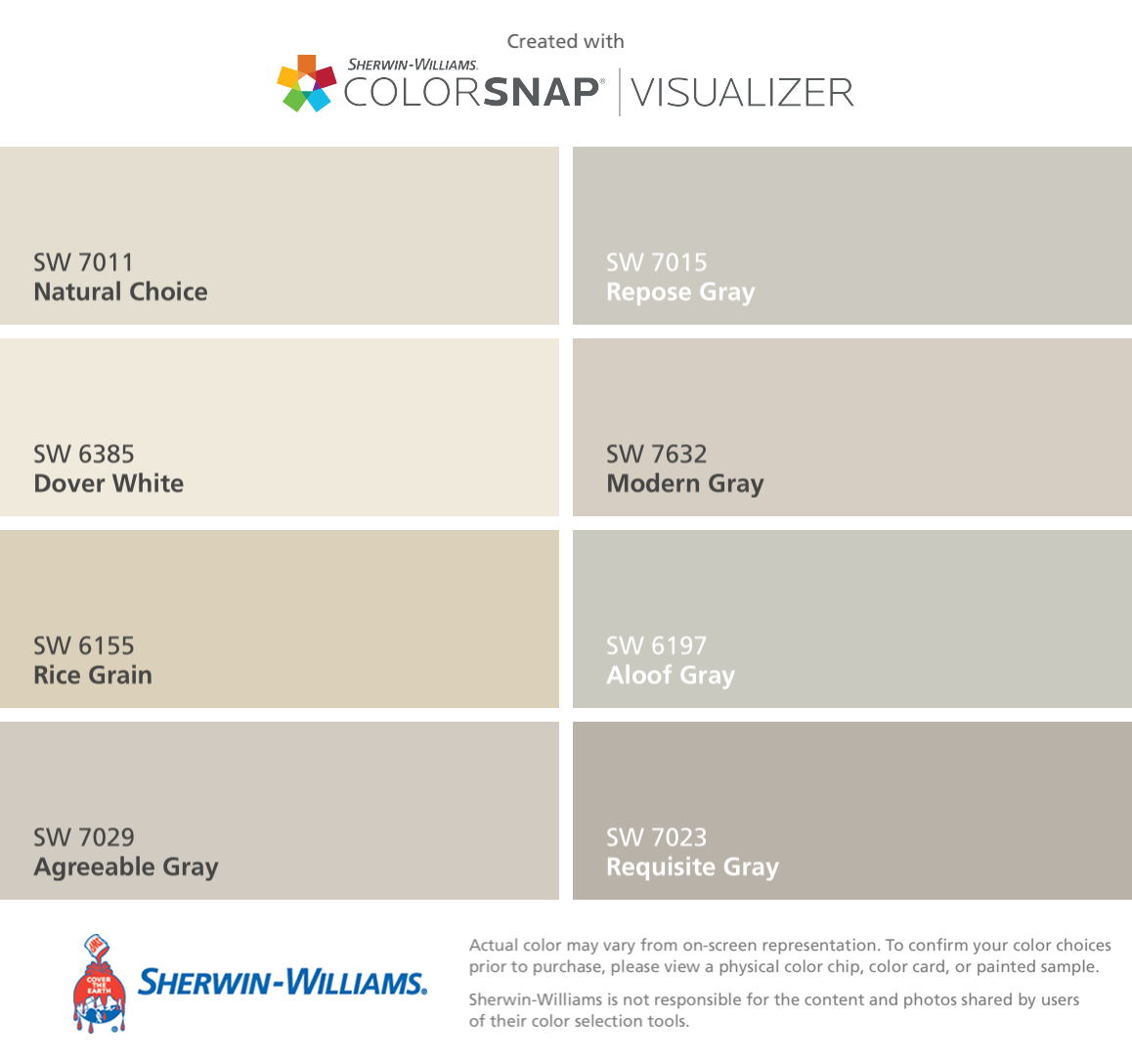 Love These Classic Sherwin Williams Neutrals For New Homes Natural Choice Sw 7011 Dover Whit With Images Sherwin Williams Colors Sherwin Williams Paint Colors