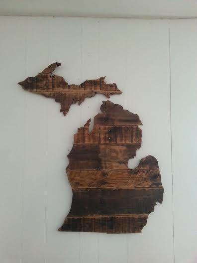 Michigan Pallet Wood Art Wood Pallet Art Michigan Decor Michigan Art