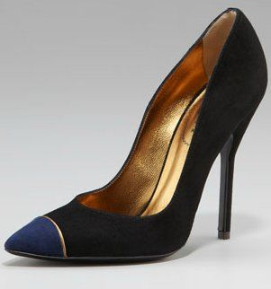 $665 Yves Saint Laurent Suede Cap-toe Pumps for Fall, a classic for the office and beyond.