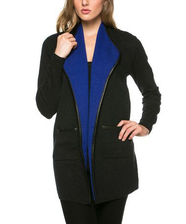 Another great find on #zulily! Black & Royal Blue Contrast Collar Jacket #zulilyfinds