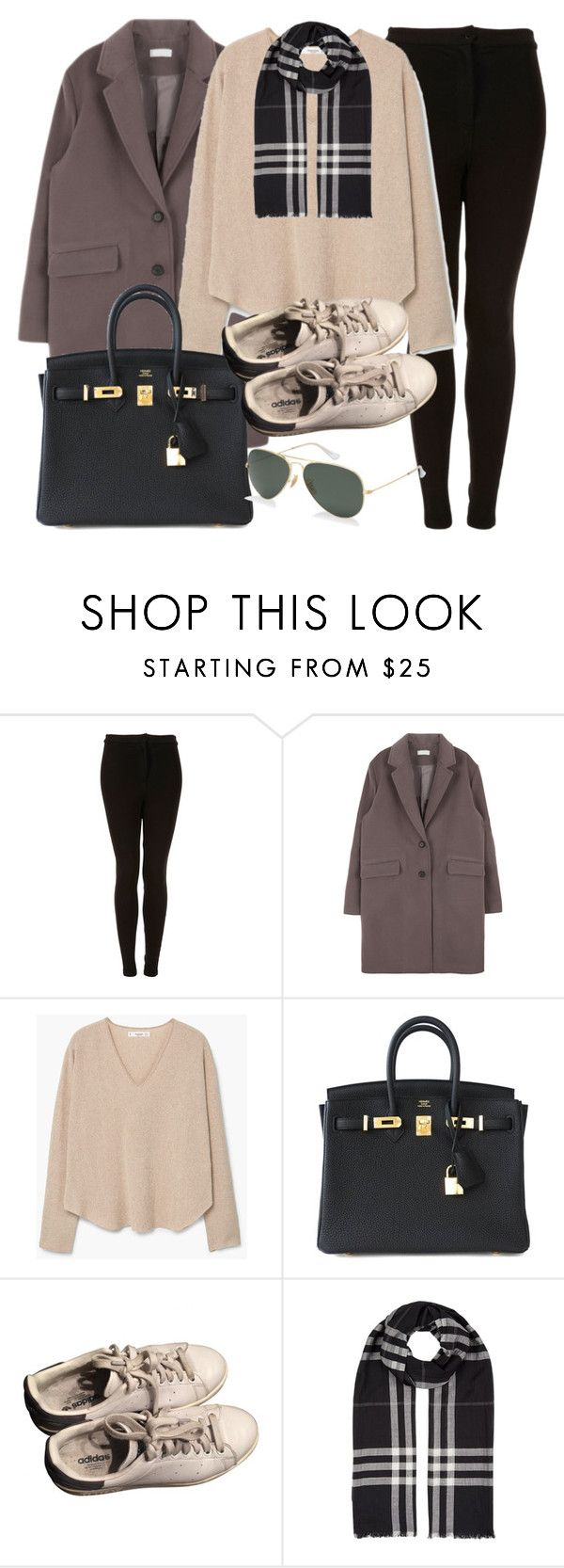 """Sin título #11918"" by vany-alvarado ❤ liked on Polyvore featuring Topshop, MANGO, Hermès, adidas, Burberry and Ray-Ban"