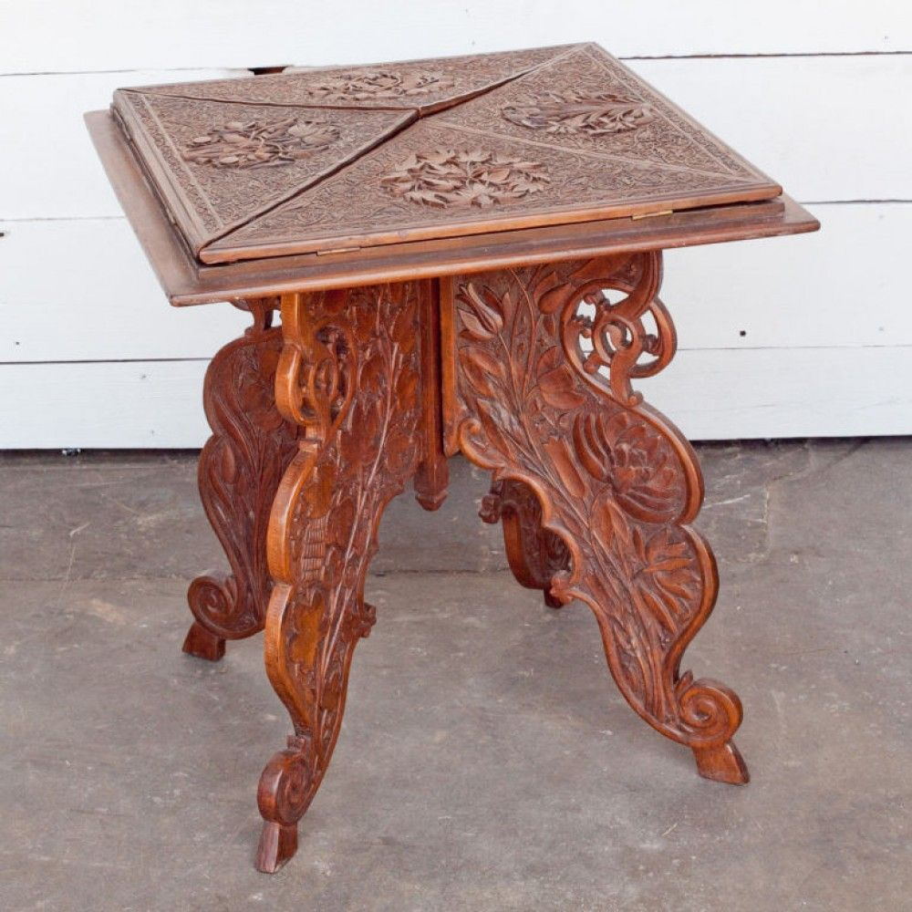 Anglo indian rosewood carved envelope table antique tables anglo indian rosewood carved envelope table geotapseo Choice Image