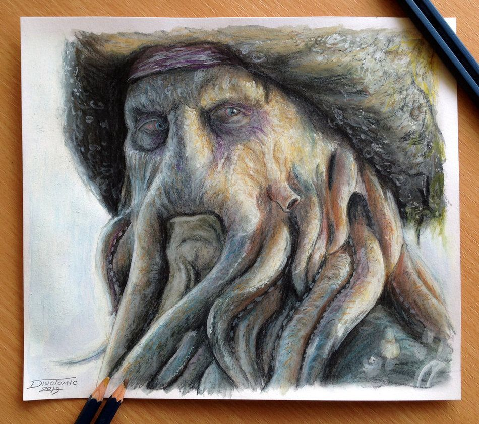 How to draw with colored pencils - Davy Jones Color Pencil Drawing By Atomiccircus On Deviantart