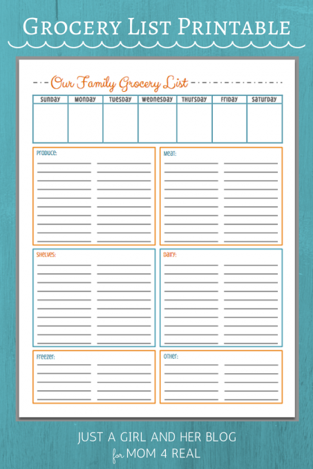 free grocery list printables 3 colors bloggers best home tips