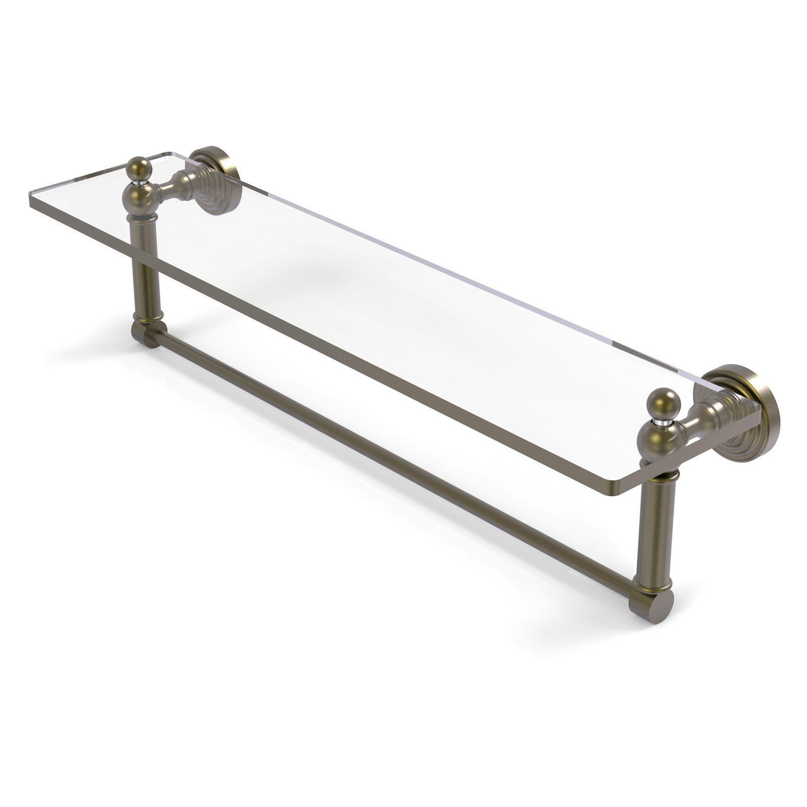 Allied Brass Waverly Place Glass Vanity Shelf with Integrated Towel Bar - WP-1TB/16-ABR