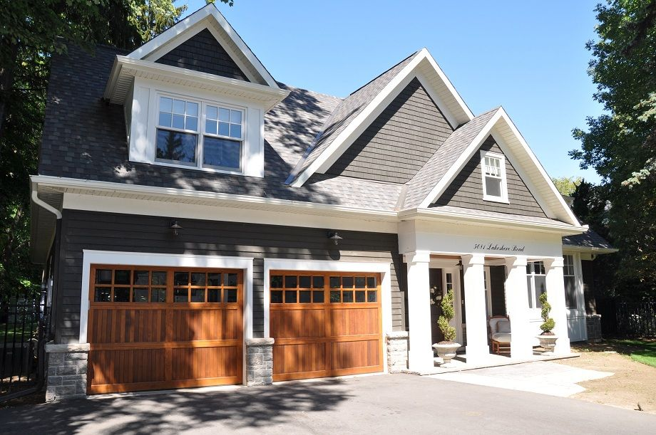 Grey Siding Wood Garage Doors White Trim