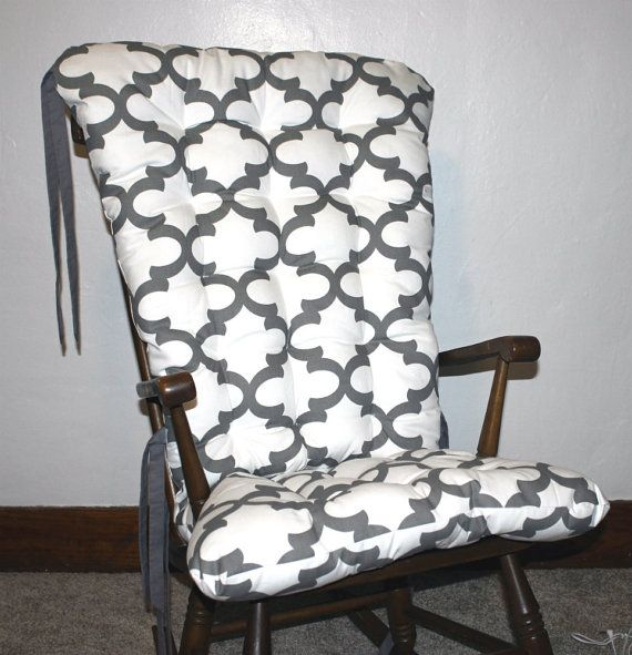 Custom Fynn Quatrefoil Rocking Chair Cushions by MayberryandMain